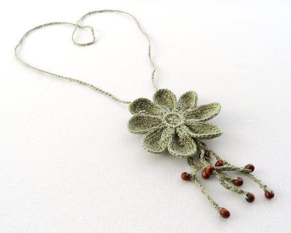Crochet Necklace  Long Necklace  Natural Linen by CraftsbySigita,