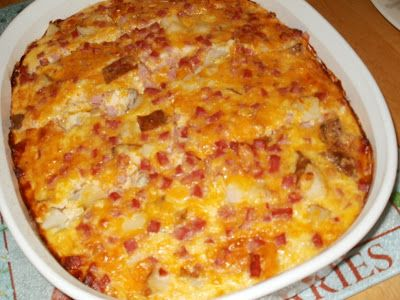 Amish Ham & Cheese Casserole: Diced Ham Steak, 3 diced baked potatoes, 1.5 cups shredded cheese, 6 eggs, 1.5 cups cottage cheese, 1 med chopped onion/powder equivalent,...Combine ingredients and transfer to greased 13x9 baking dish...Bake uncovered 350 for 35-40 mins until set and bubbly.  Let stand 10 min. before serving.
