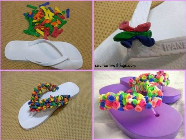7 Creative DIY Ideas, Colorful flip flops. I did this. It was really easy and fun!