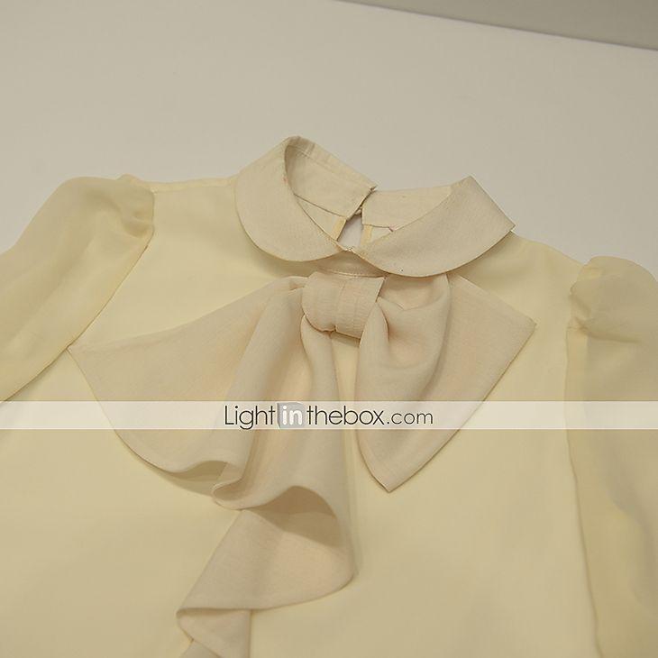 2016年 /カジュアル/休日ヴィンテージ/洗練されたブラウス、固体ラペル襟長袖を外出dabuwawa女性の 5164341 コレクション – $33.17