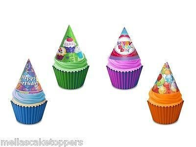 12 Novelty Party Hat Mix Edible Cupcake Toppers
