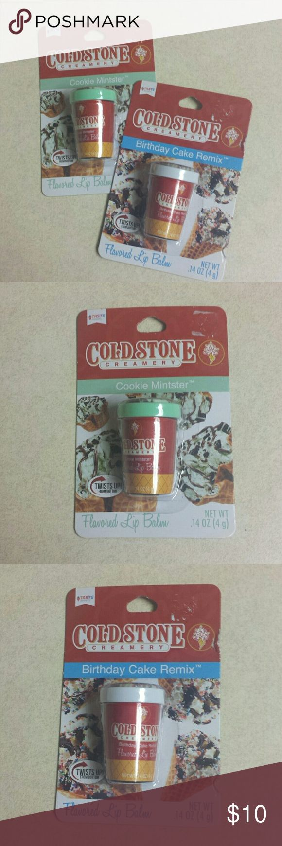 Cold Stone Creamery Lip Balms Brand new, absolutely adorable lip balms. They look like they are in an ice cream container. Birthday Cake and Cookie Mintster Flavors Makeup Lip Balm & Gloss