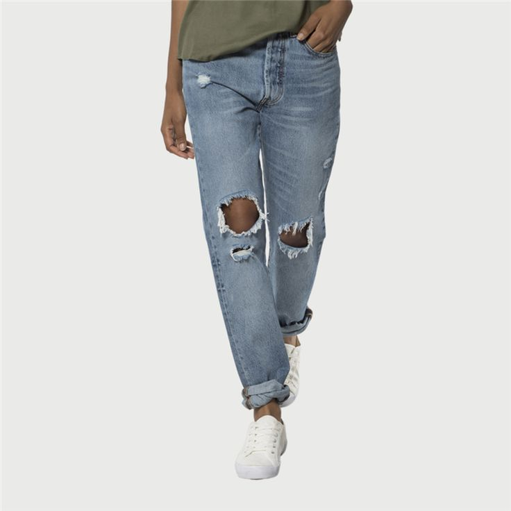 Levi's Women's 501 skinny old hangouts:med wash ripped