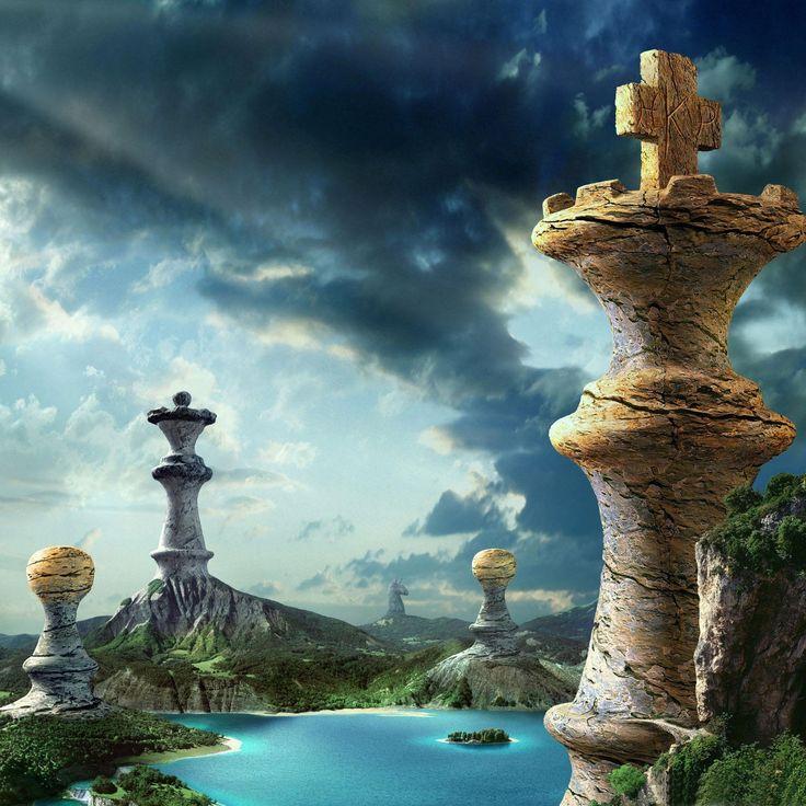 Fantasy Landscape Wallpaper: Fantasy Chess Art 2048x2048 IPad