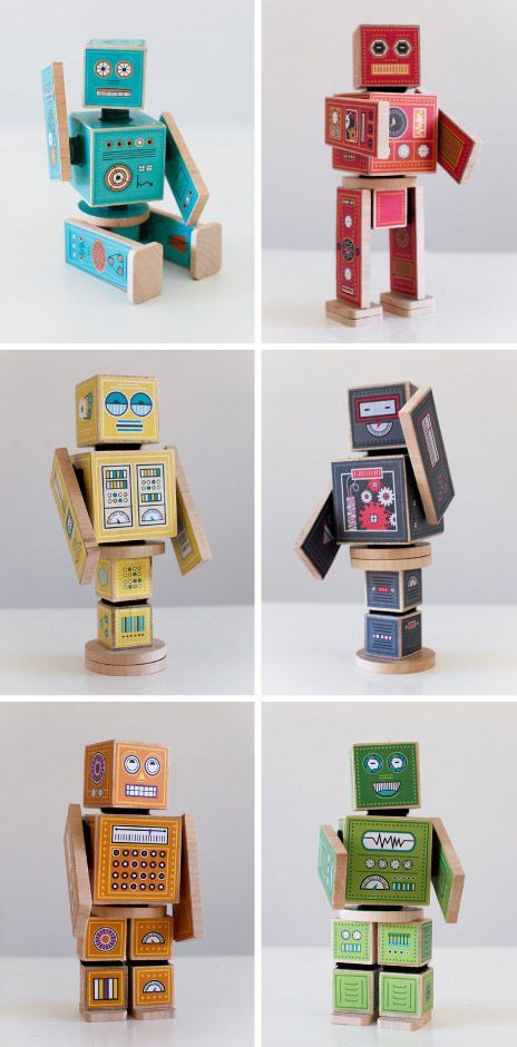 DIY Printable Robots! Print the decals and add them to wood blocks. Click for the tutorial.