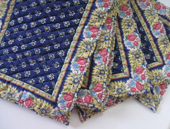 8 Vera Bradley Quilted Placemats Navy And Yellow Table