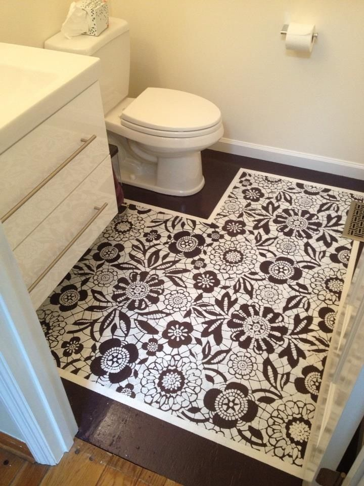 Painted Subfloor In My Friends Bathroom Bathroom