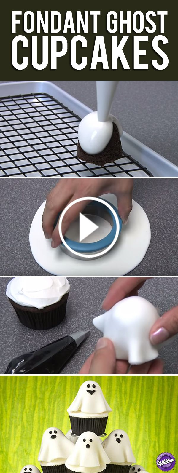 Learn how to make Halloween cupcakes that look like ghosts. Use fondant to cover…