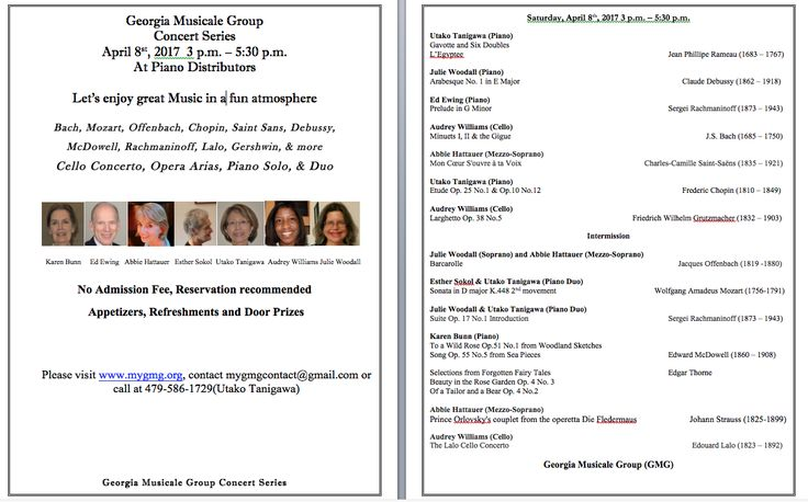 April 8th Concert at the Piano Distributors ..... A few of us from the Atlanta Symphony Associates are doing an informal concert.  Feel free to stop by if you're looking for something to do.