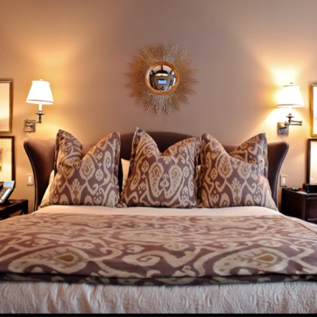 Beautiful Master Bedroom. Upholstered Bed Covered In Taupe Mohair; So  Luxurious. Sferra Bedding