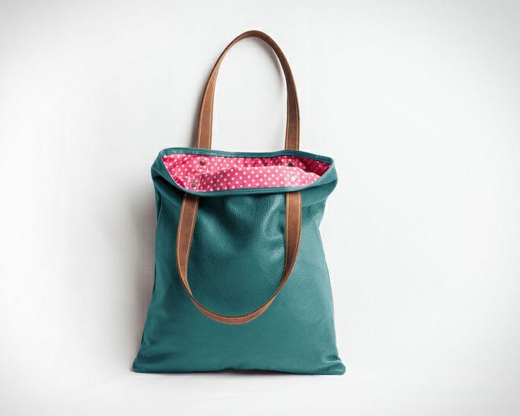 Shopper Öko-Leder türkis // Shopper bag leather turquois by lilis Tasche via DaWanda.com