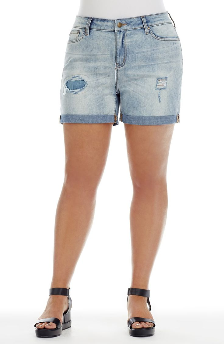 Cuffed Rip Short   pale denim   Style No: SHO121 Stretch Denim Mid Length Short. This Short has leg rips and a patch detail. The short has a cuffed hem and has 5 pockets. #dreamdiva #dreamdivafiles #plussize