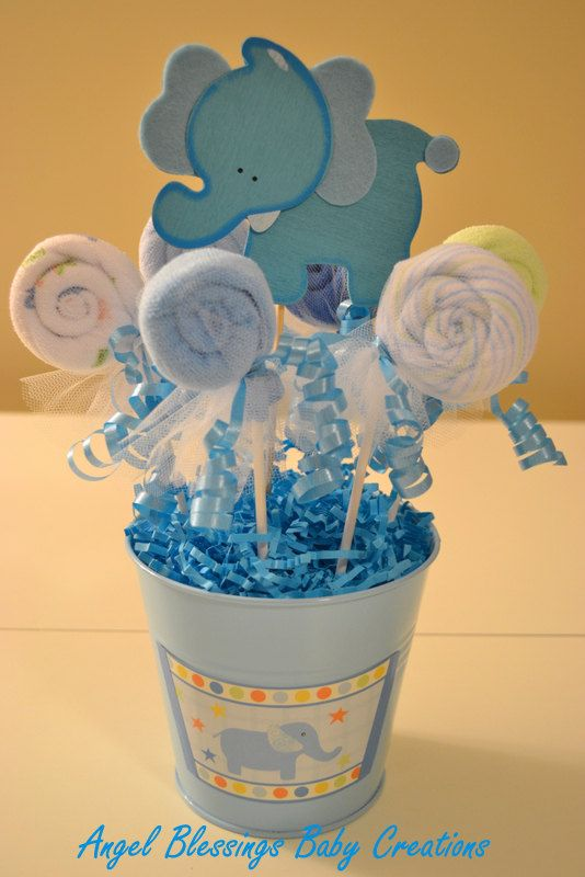 Baby Shower Washcloth Lollipop Centerpiece by AngelBlessings12