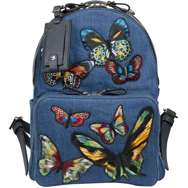 Valentino Garavani Denim backpack with Butterfly embroidery (9,250 AED) ❤ liked on Polyvore featuring bags, backpacks, azzurro, embroidery bag, knapsack bags, blue backpack, blue denim backpack and denim backpack