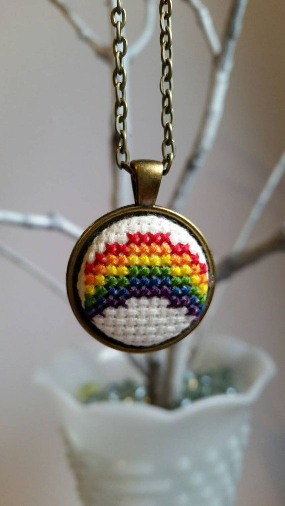 Cross-stitch rainbow pendant necklace by mydisheveledducks on Etsy