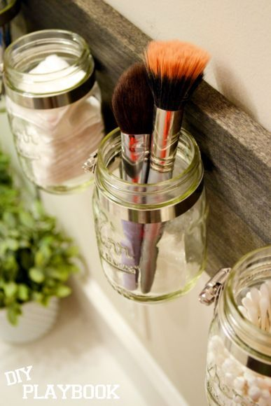 Make your own mason jar organizer - practical in the kitchen, bathroom, or bedroom!
