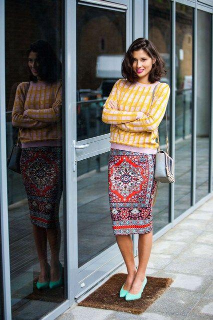 Jasmine Hemsley - street style wearing Svilu jumper, Topshop printed skirt & teal shoes
