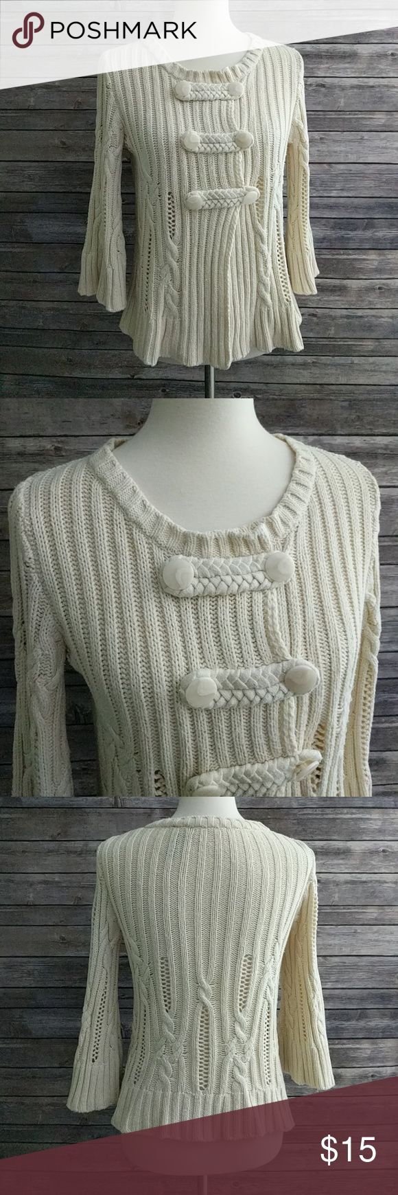 "Heather B 3/4 Bell Sleeve Sweater Cream sweater in great used condition, some pilling. Bust 18"" laying flat. Length approximately 22"". Heather B Sweaters Cardigans"