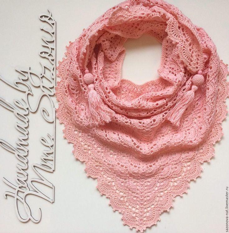 Купить Бактус или шейный платок - розовый, бактус, бактус вязаный, бактус крючком