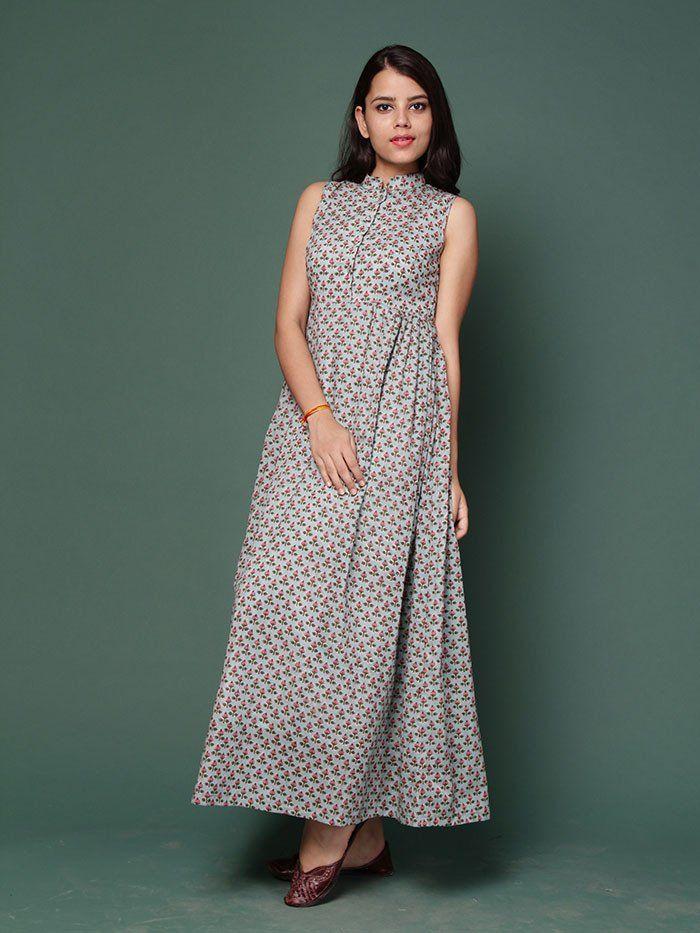 Blue Pink Floral Block Printed Maxi Dress