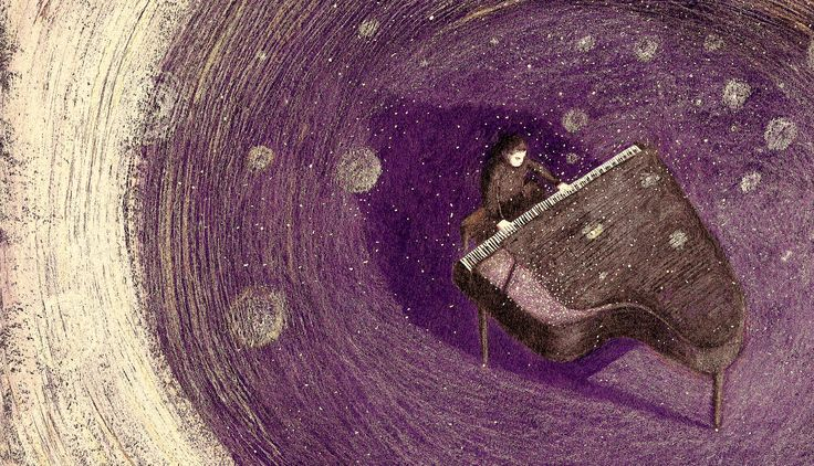 Night concert. Nika Jaworowska #art #illustration #booksforchildren #music #night #piano