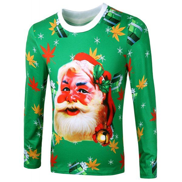 $20.20 Casual Pullover Round Collar Long Sleeve Leaf Santa Claus 3D Printing Sweatshirt For Men