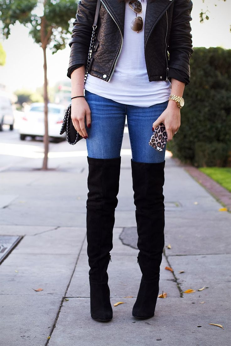 Fall outfit with thigh high boots
