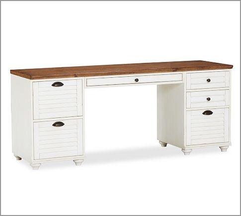 Whitney Shuttered Rectangular Desk Set, 1 Desktop, 1 2 Drawer File U0026 1