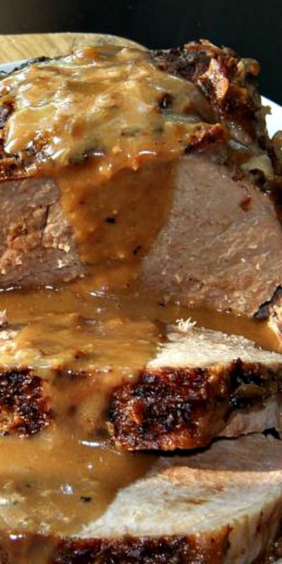 Crockpot Eye of Round Roast with Mushroom and Onion Gravy ~ Pure Heaven... No knife needed.  Just you, a plate and a fork.