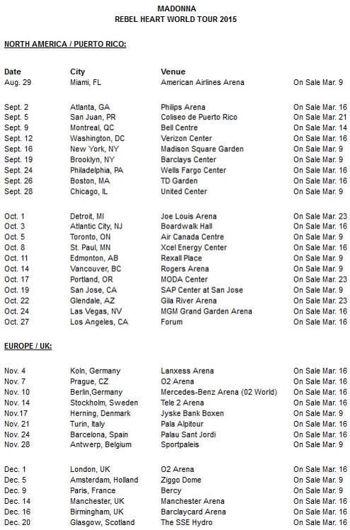 Madonna Rebel Heart Tour dates, I couldn't resist adding this!
