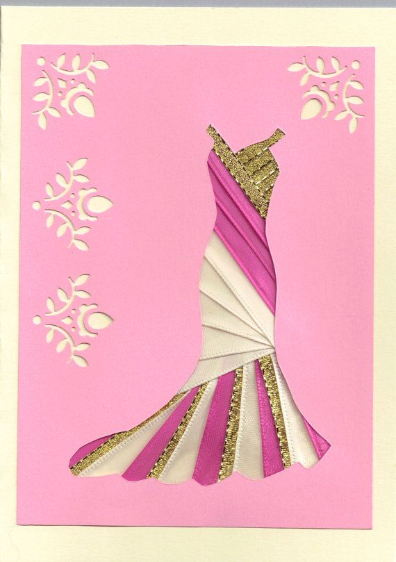 Ribbon Iris Fold Card - Dress in Pink, White and Gold