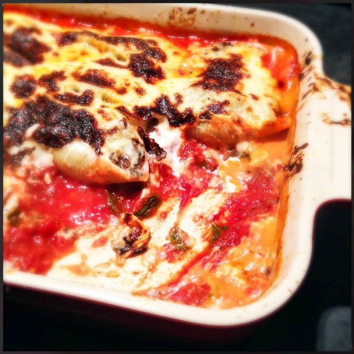 A tasty Italian family-style dish. Florentine Pasta Shells Stuffed with Beef and Bechamel Sauce - Gino D'Acampo