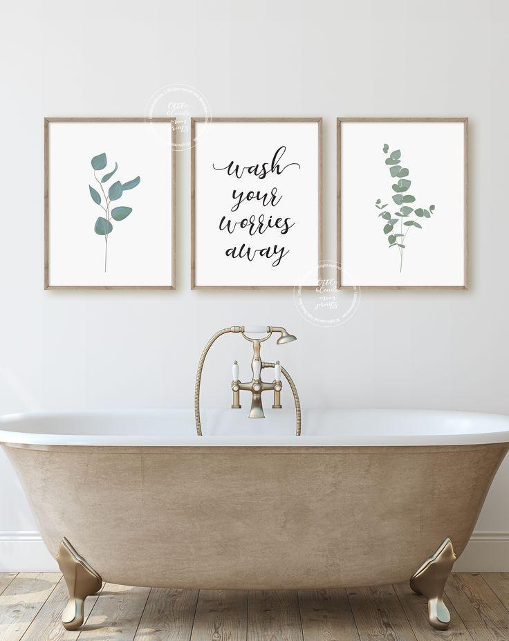 Bathroom Wall Decor Poster Prints Set Of 3 Wall Art Etsy Bathroom Wall Mural Bathroom Wall Decor Pictures For Bathroom Walls