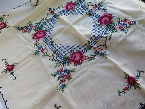 Vintage Tablecloth//Vintage Hand Embroidered by Waitingforgeorge