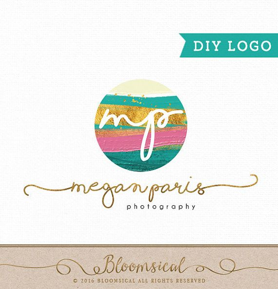Photography Branding Logo Design DIY Logo template Brush strokes painted ombre Instant download, perfect for a quick makeover: https://www.etsy.com/au/listing/269054286