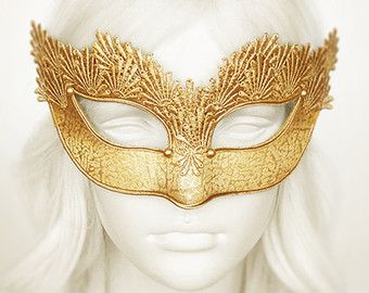 Gold Applique Embroidery Covered Masquerade Mask   Venetian