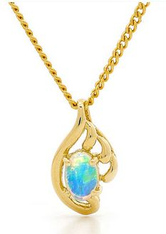 An elegant Opal Gold Pendant.  The Master Goldsmiths from Opals Australia have selected a beautiful oval shaped Australian Solid Light Opal, sourced from quality opal mines in the Coober Pedy region of South Australia. Setting is simple, smart and claw set with 18k yellow gold.  A classic pendant design, the opal is fantastic colour and is set in a stylish setting. A fine example of quality opal jewellery. #opalsaustralia