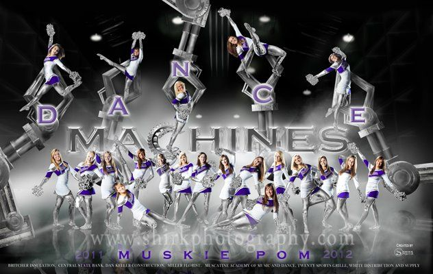 Dance Machine- created by Shirk Photography for the Muscatine Pom Dance Team. Every element was created in PS. Just a little timee went into making this ;) Many adjustment layers include claws & fog. International award winning image! Many other sports templates on my website - http://shirkphotography.com/for-photographers/products/sports-templates/?product_page=1 Unfortunately not available to photographers within 200 miles of our studio.