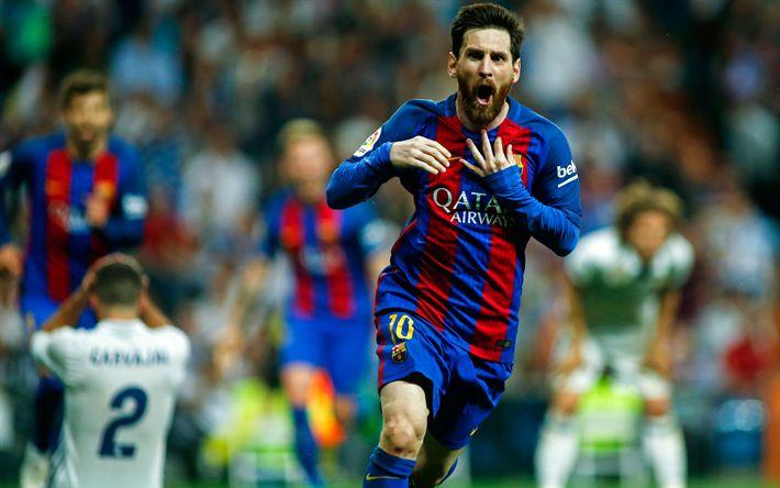Descargar fondos de pantalla 4k, Lionel Messi, futbolistas, el objetivo, el FC Barcelona, a las estrellas del fútbol, FCB, Leo Messi