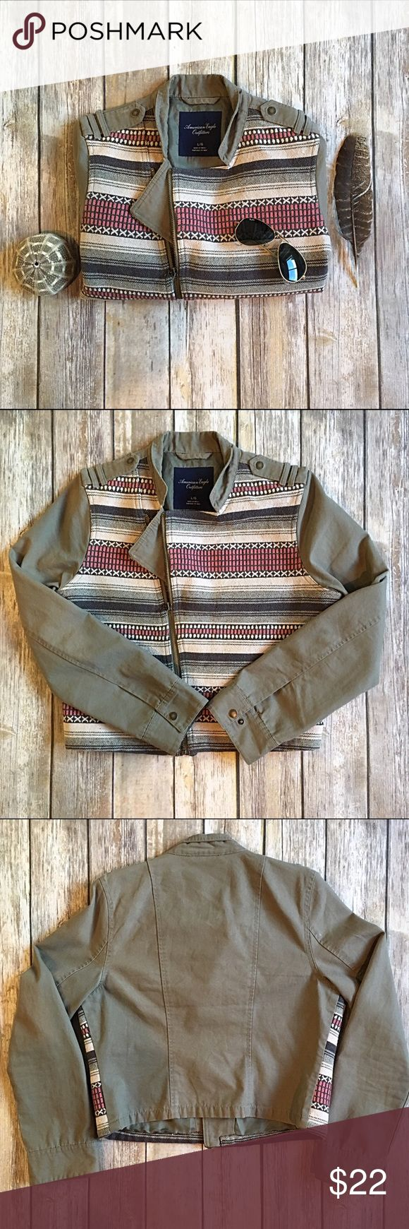 """American Eagle sz L Aztec striped zip up jacket American Eagle sz L Aztec ethnic striped zip up army biker style jacket. Bust 18"""", length 20"""", sleeve length 25"""". Front 63% cotton 33% polyester 4% other fibers, back 100% cotton. American Eagle Outfitters Jackets & Coats"""