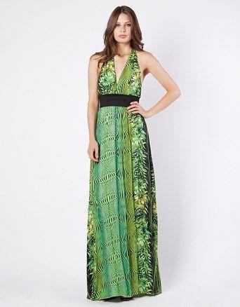 Φόρεμα+maxi+με+tropical+τύπωμα,+ανοιχτή+πλάτη,+λάστιχο+στην+μέση+και+δέσιμο+στον+λαιμό.