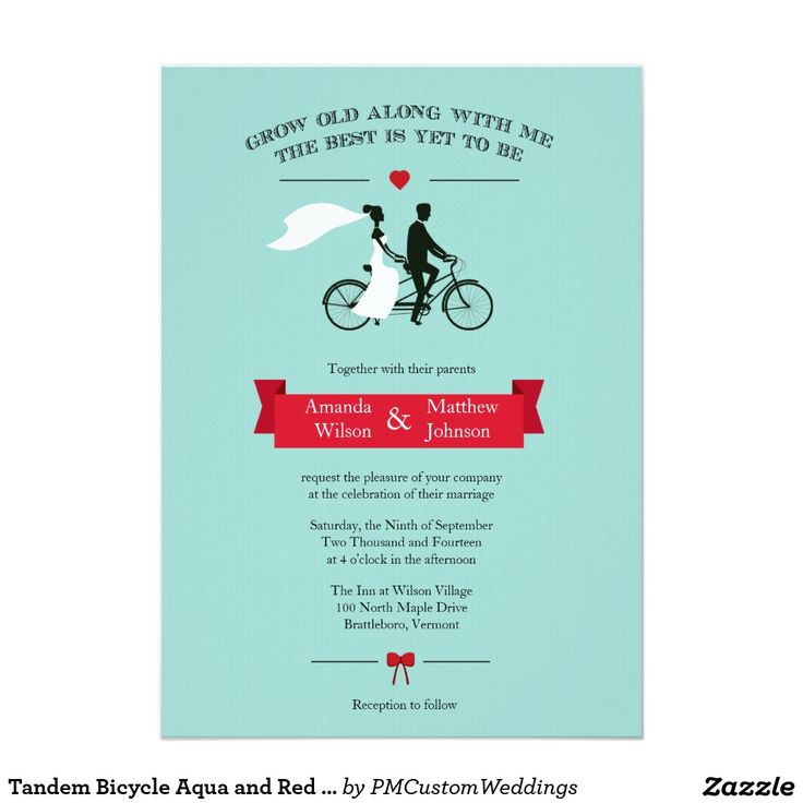 Tandem Bicycle Aqua and Red Wedding Invitations