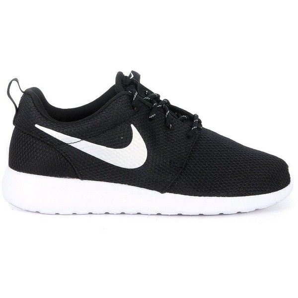 Nike Sneakers (280 BRL) ❤ liked on Polyvore featuring shoes, sneakers, nike, black, nero, black shoes, nike trainers, nike sneakers, black sneakers and logo shoes