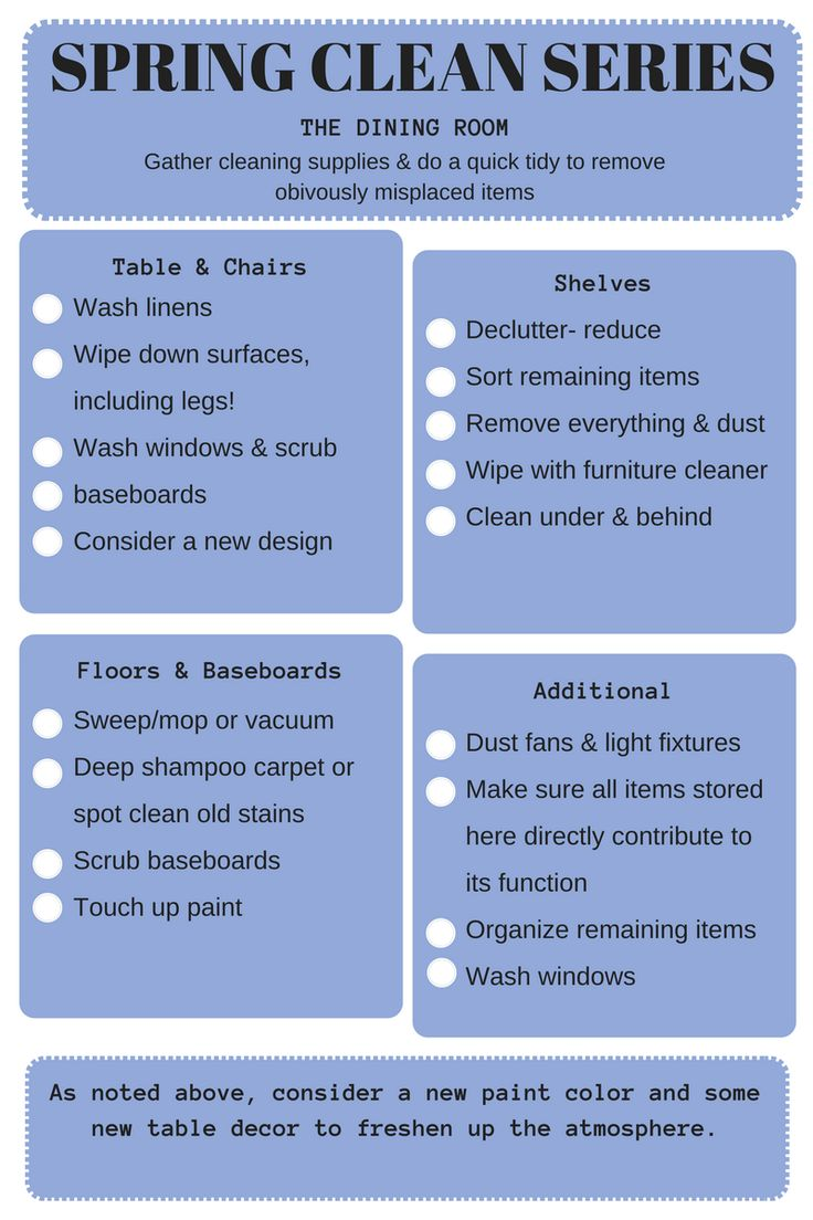 Free printable checklist to help you spring clean and declutter your dining room: