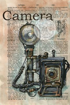 Camera Mixed Media Drawing on Distressed, Dictionary Page - flying shoes art studio