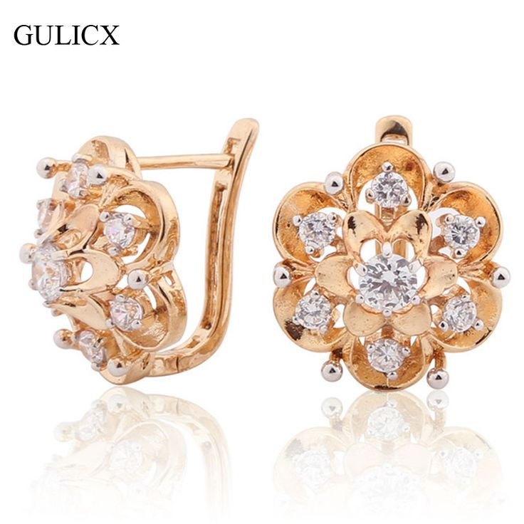 GULICX Circle Earring Flower for Women 18K Gold Platinum Plated Hoop Earring White Crystal CZ Earing Fashion Flower Jewelry E193