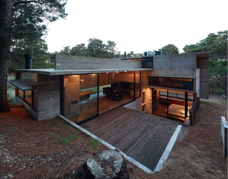 quinta   Buenos Aires, Argentina, Pedroso House by BAK Arquitectos is situated in the corner of dense Pine forest on a site that changes elevation 2.5m from its highest...