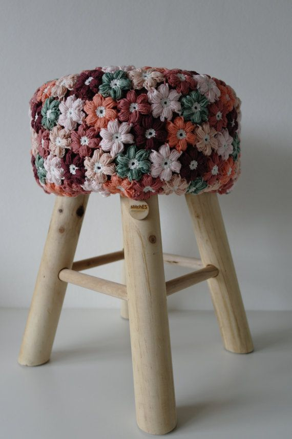 Stool flower crochet cover and wooden legs by StitchEScrochet
