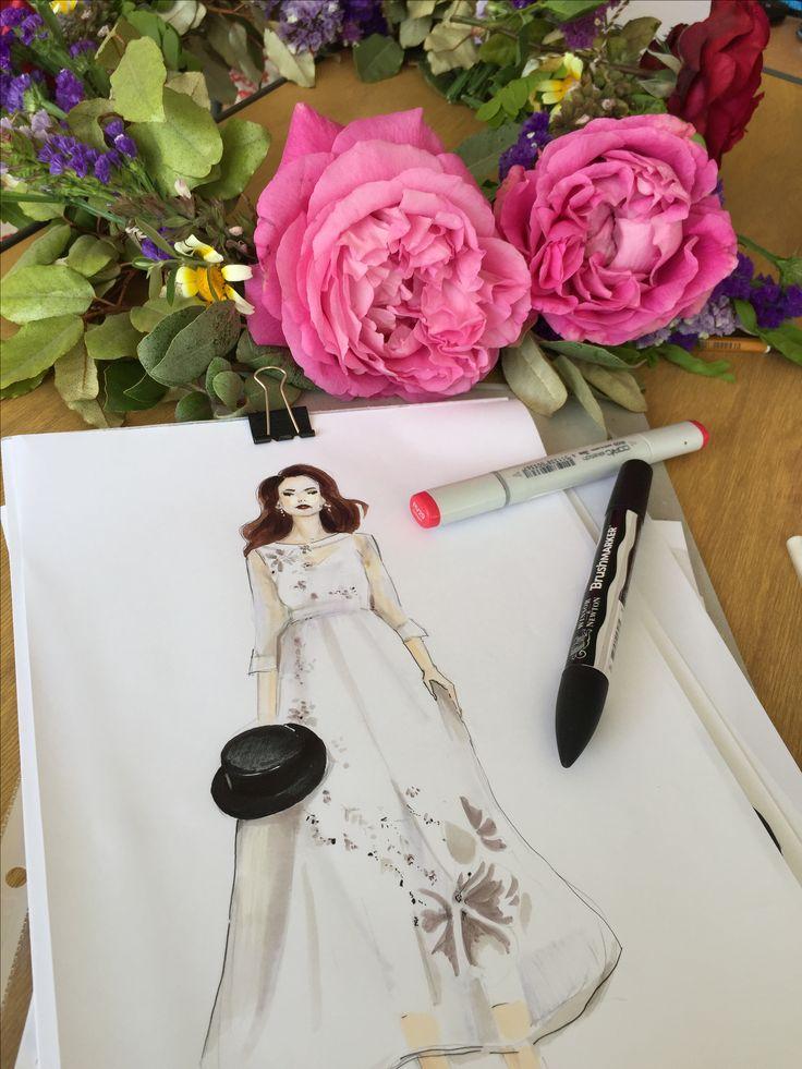 Fashion sketch, wedding dress