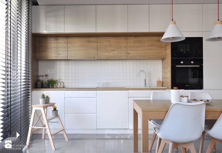 Mieszkanie Kraków,50m2. Realizacja - Mała otwarta kuchnia jednorzędowa w aneksie, styl nowoczesny - zdjęcie od Architekt wnętrz Klaudia Pniak
